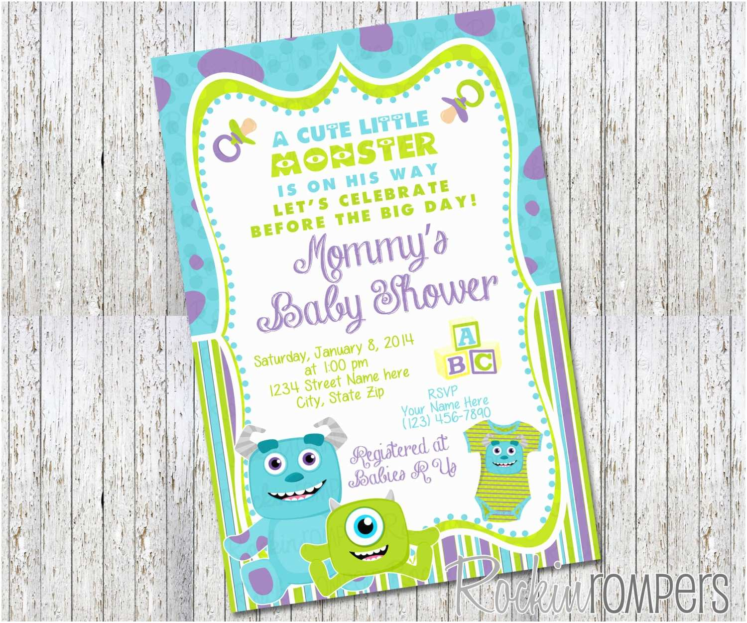 Monsters Inc Baby Shower Invitations Monsters Inc Inspired Baby Shower Invitation by Rockinrompers