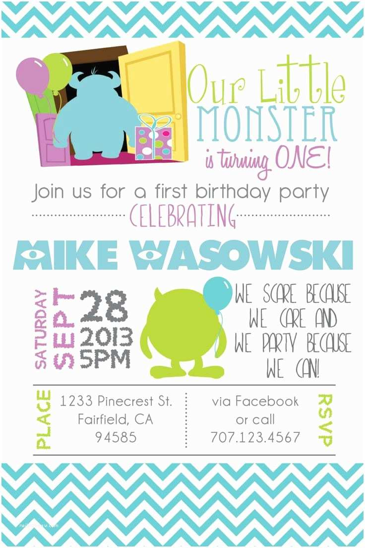 Monsters Inc Birthday Invitations 53 Best Images About Jackson S Birthday On Pinterest