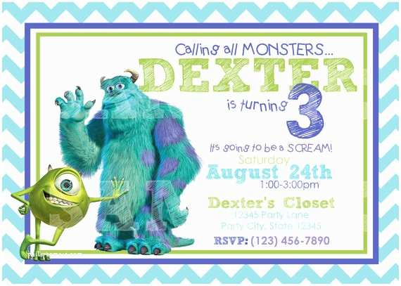 Monsters Inc Birthday Invitations Etsy Your Place to and Sell All Things Handmade