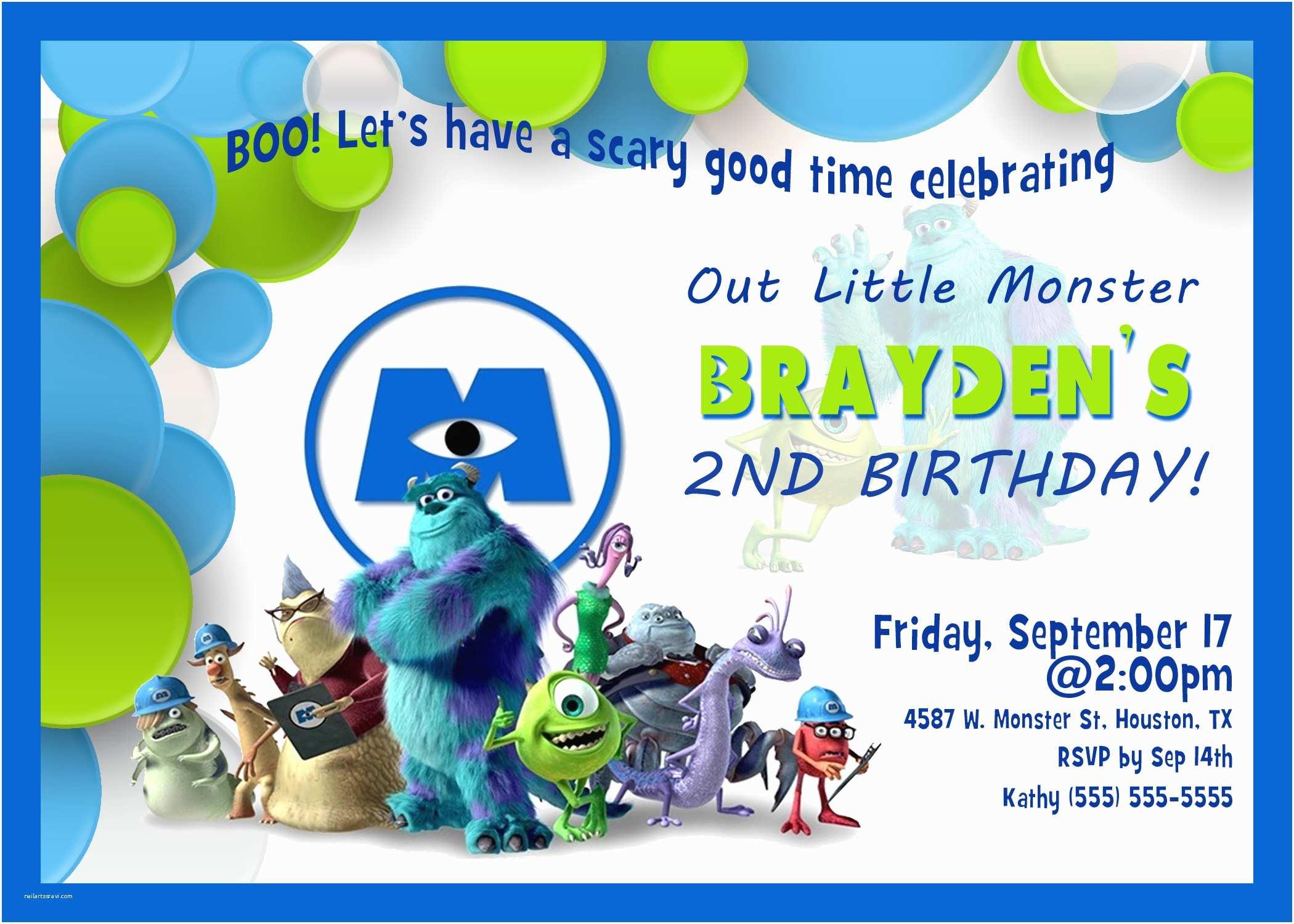 Monsters Inc Birthday Invitations Monsters Inc 2 University Birthday Invitation
