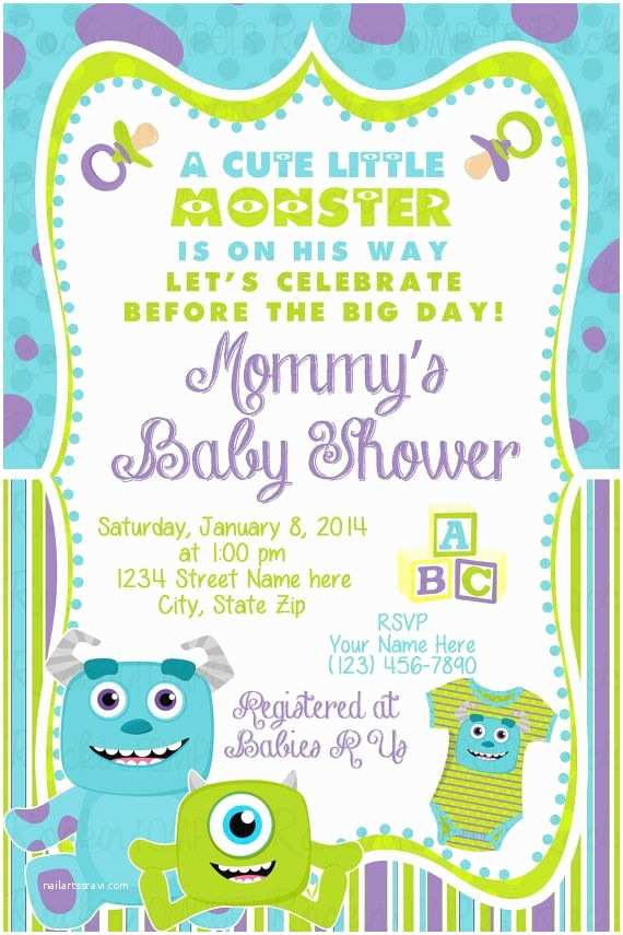 Monsters Inc Birthday Invitations Monsters Inc Baby Shower Invitation by Rockinrompers On