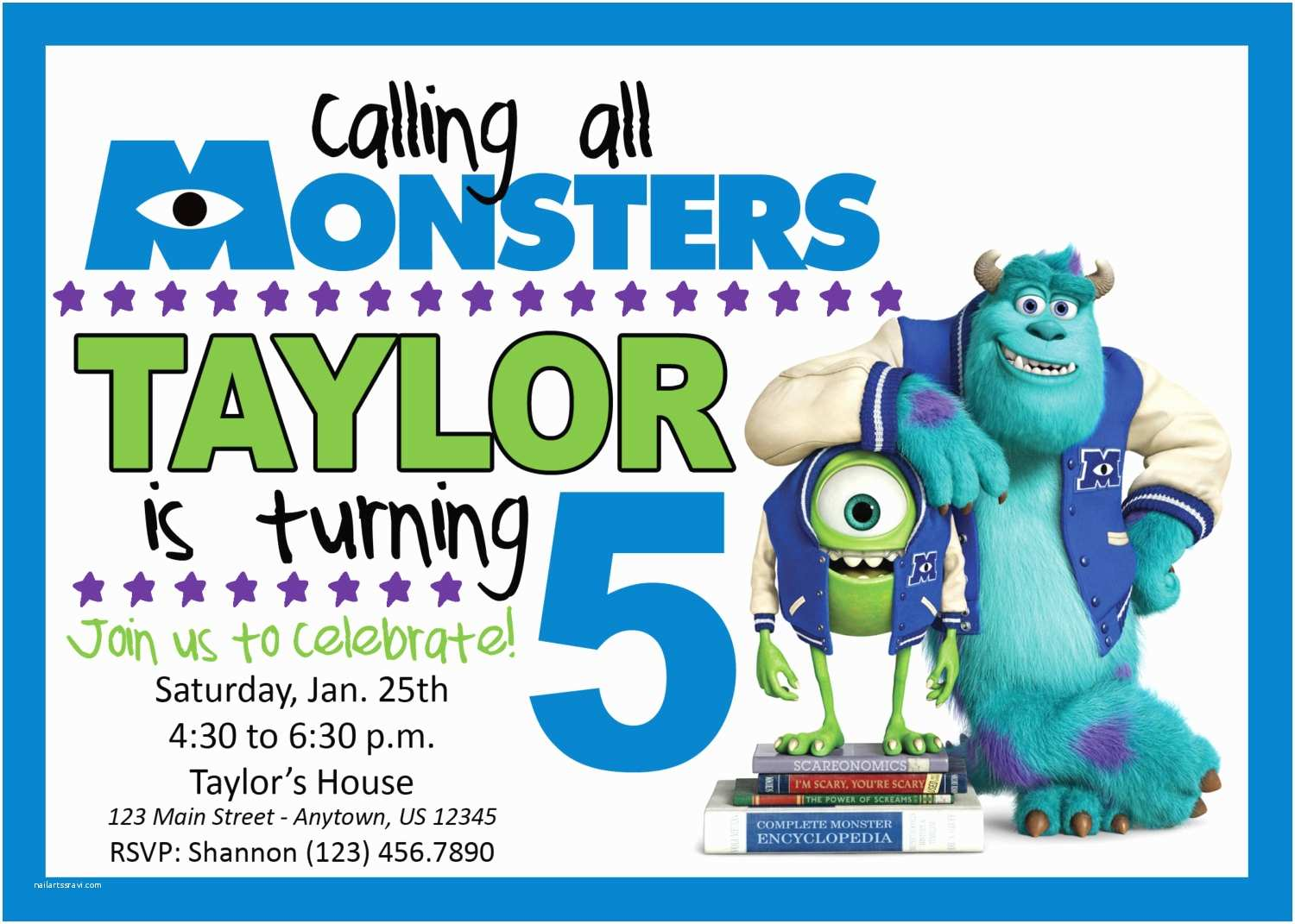 Monsters Inc Birthday Invitations Monsters Inc Birthday Party Invitation by Life Purpose On