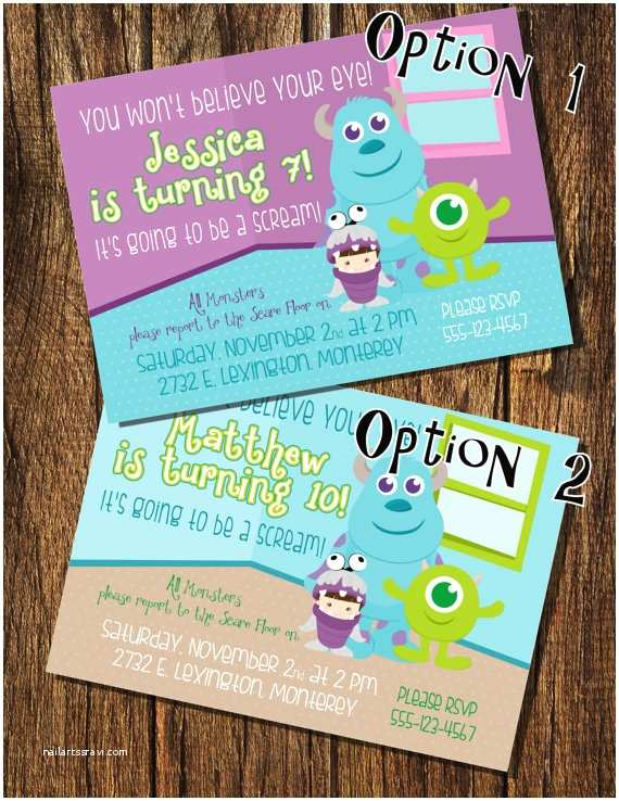 Monsters Inc Birthday Invitations Monsters Inc Inspired Birthday Invitation