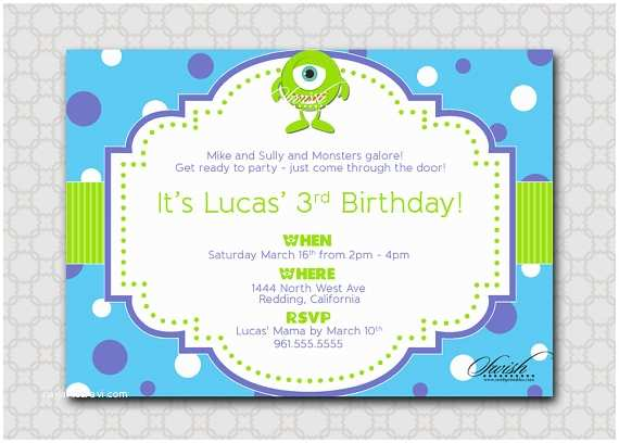 Monsters Inc Birthday Invitations Monsters themed Birthday Party Invitation Mike Sully Inc