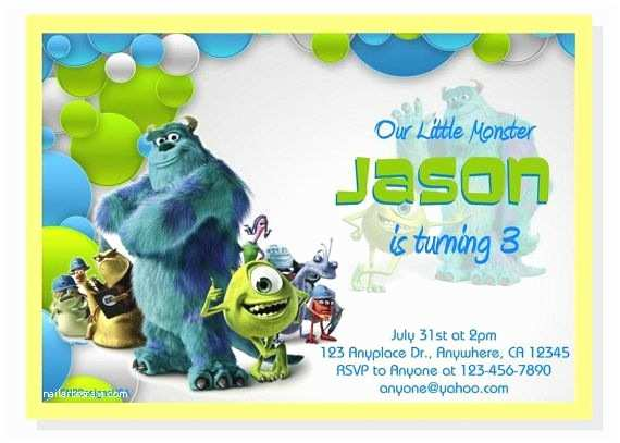 Monsters Inc Birthday Invitations Personalized Monster Inc Birthday Invitation Diy Digital