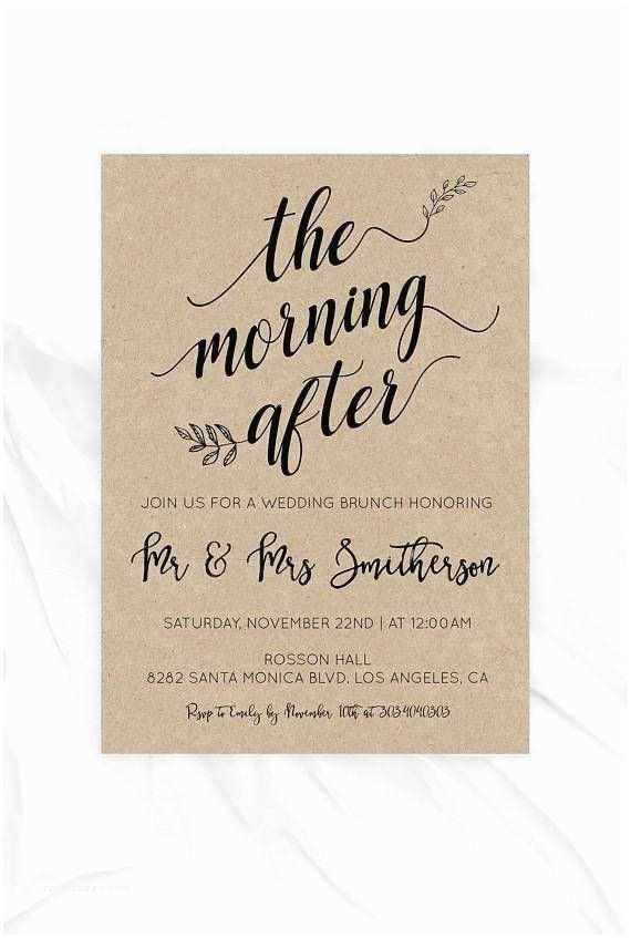 Morning Wedding Invitations Post Wedding Brunch Invitation Morning after Kraft
