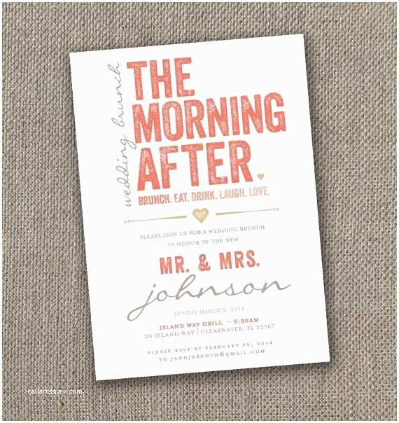 Morning Wedding Invitations the Morning after Wedding Brunch Invitation Diy Brunch