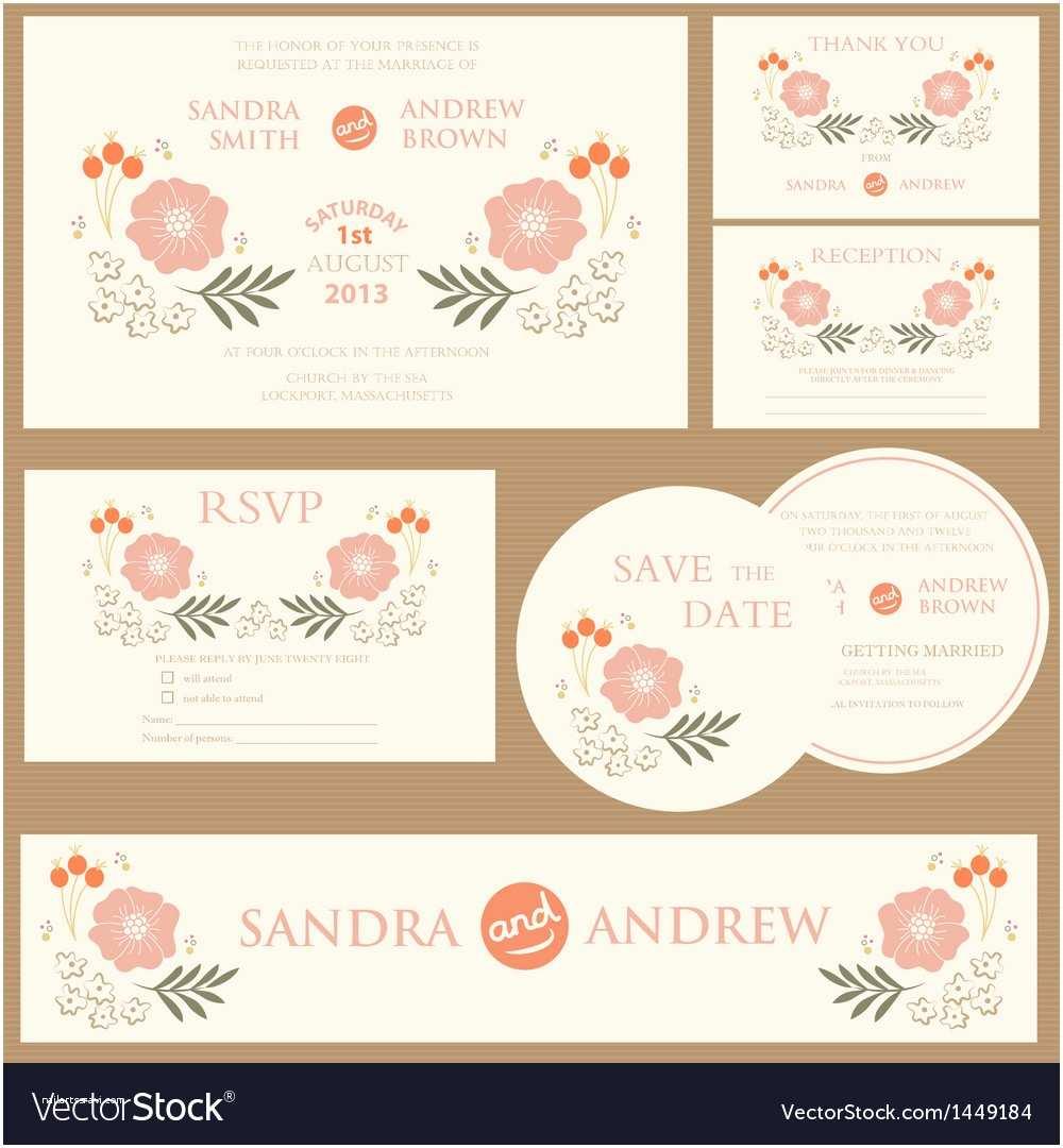 Most Beautiful Wedding Invitation Cards Beautiful Vintage Wedding Invitation Cards Vector Image
