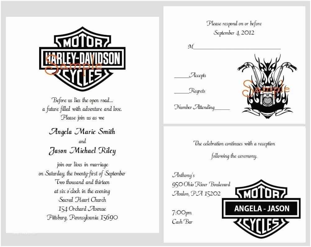Motorcycle Wedding Invitations 100 Personalized Custom Harley Davidson Motorcycle Bridal