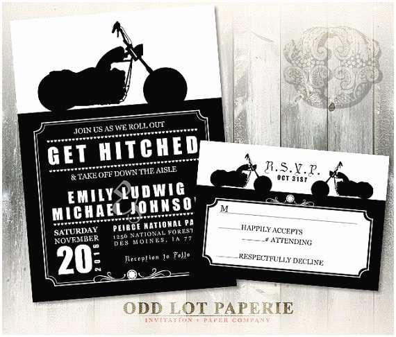 Motorcycle Wedding Invitations Biker Motorcycle Wedding Invitation Diy Printable by