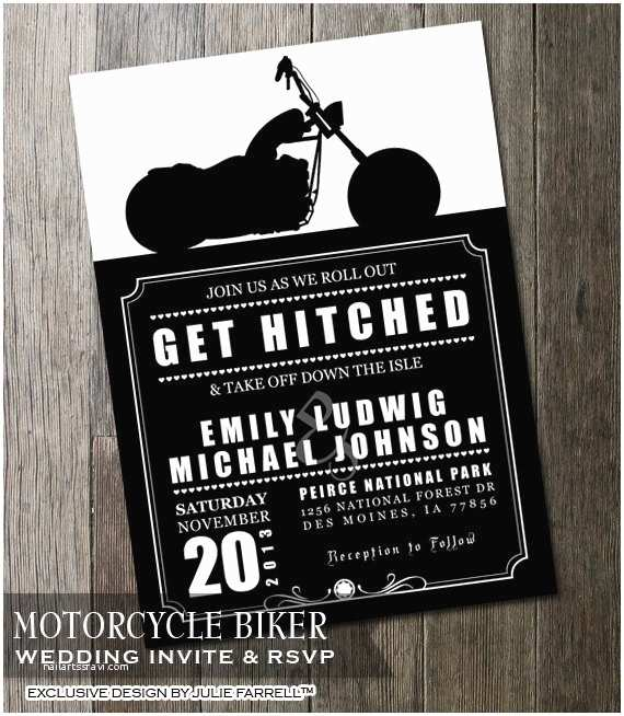 biker motorcycle wedding invitation diy
