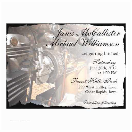 "Motorcycle Wedding Invitations Custom Motorcycle Biker Wedding Invitation 5"" X 7"