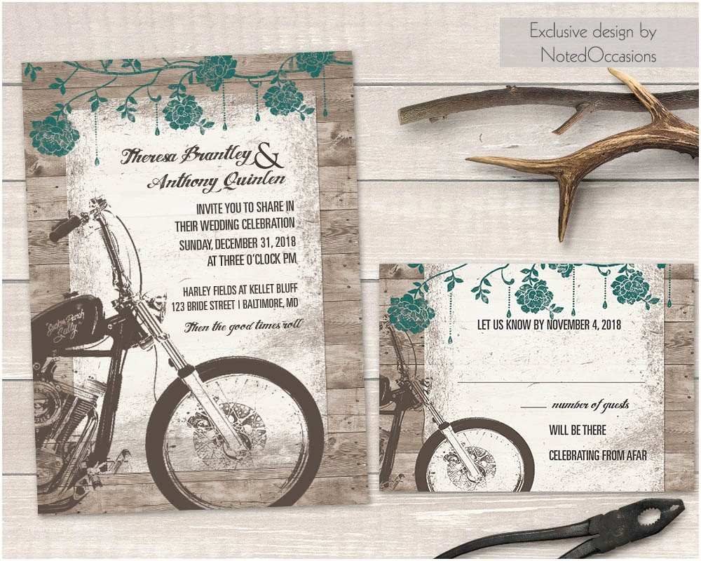 Motorcycle Wedding Invitations Motorcycle Wedding Invitations Biker Bride by Notedoccasions