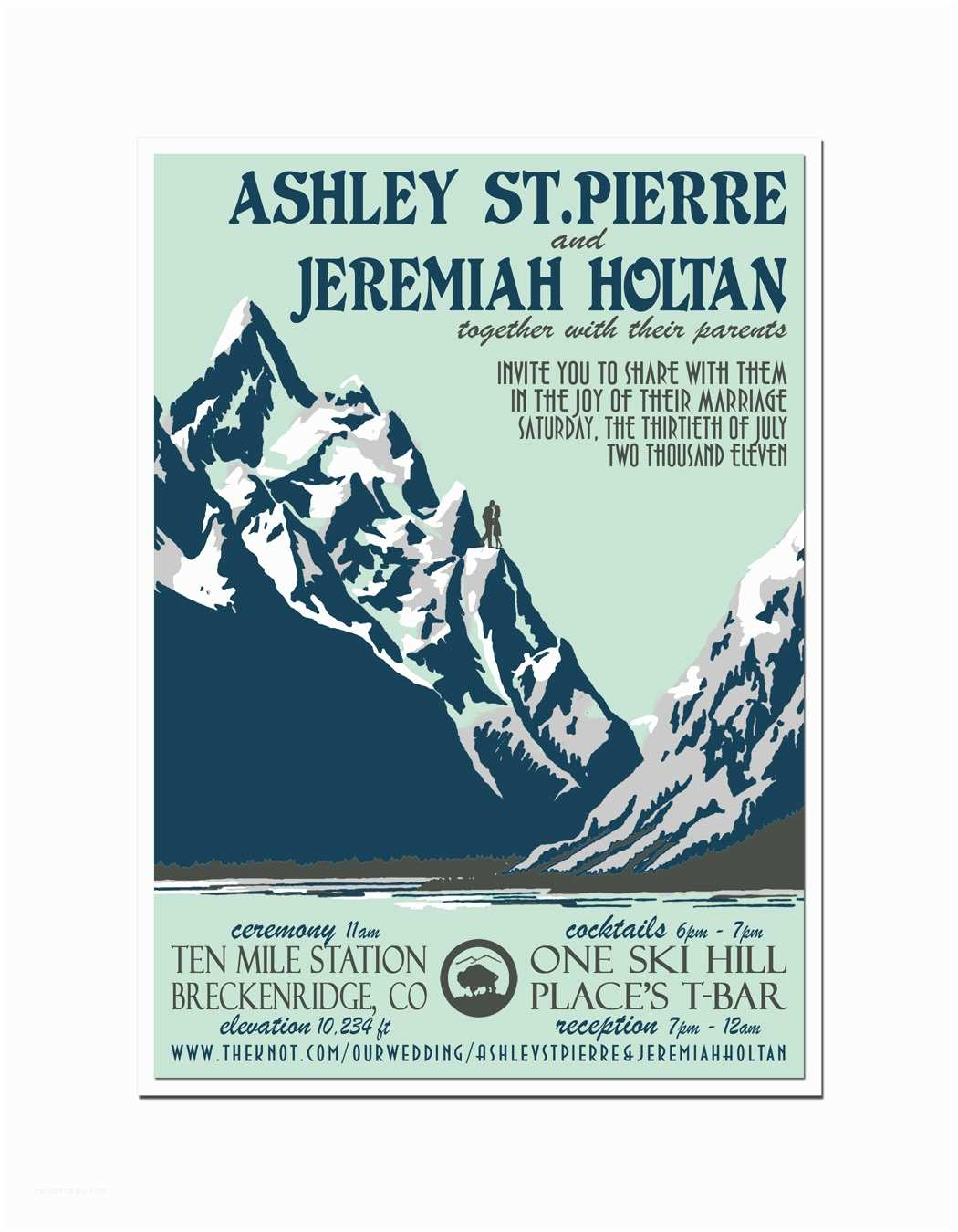 Mountain Wedding Invitations Vintage Mountain Wedding Invitation and Reply Postcard Set