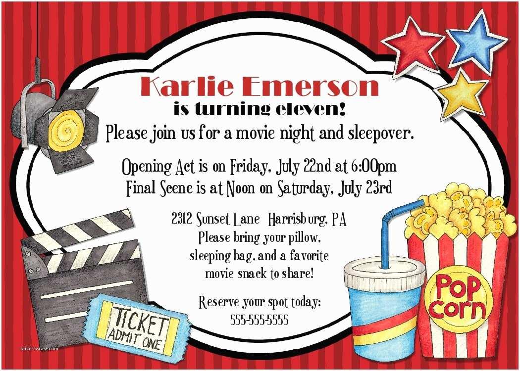 Movie Birthday Party Invitations Bear River Greetings Movie Night Birthday Party