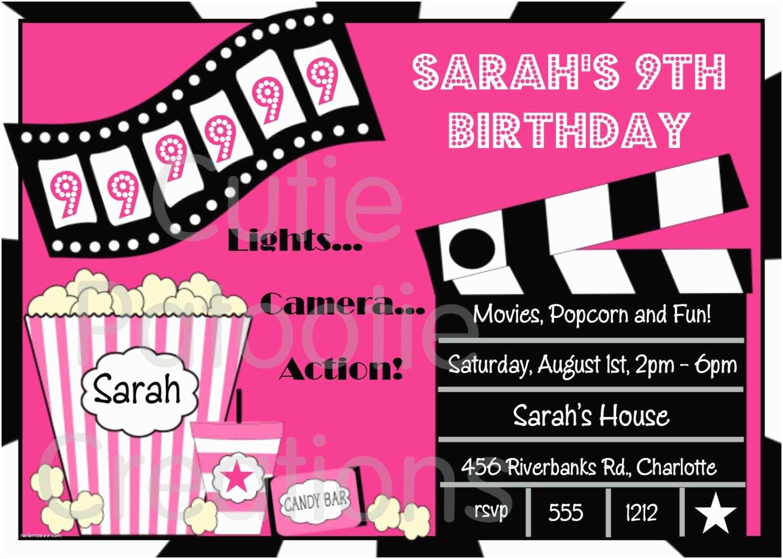 Movie Birthday Party Invitations Free Printable Movie Night Birthday Party Invitations
