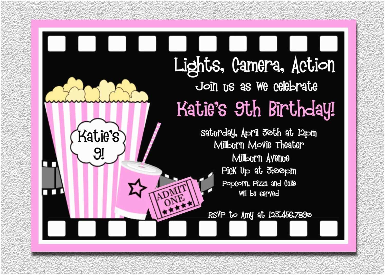 Movie Birthday Party Invitations Movie Birthday Invitations Pink Movie Night Birthday Party