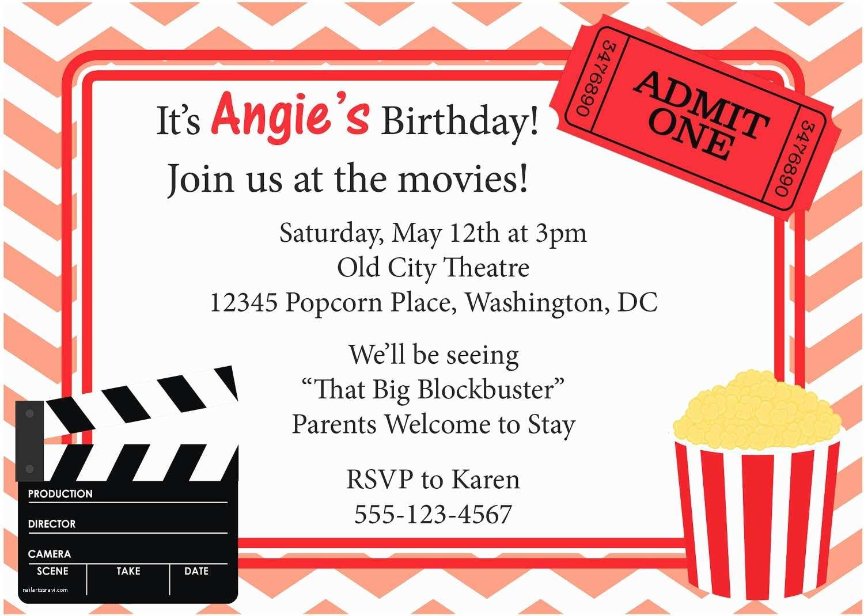Movie Birthday Party Invitations Movie Night Invitation Birthday Invite Diy by Cowprintdesigns