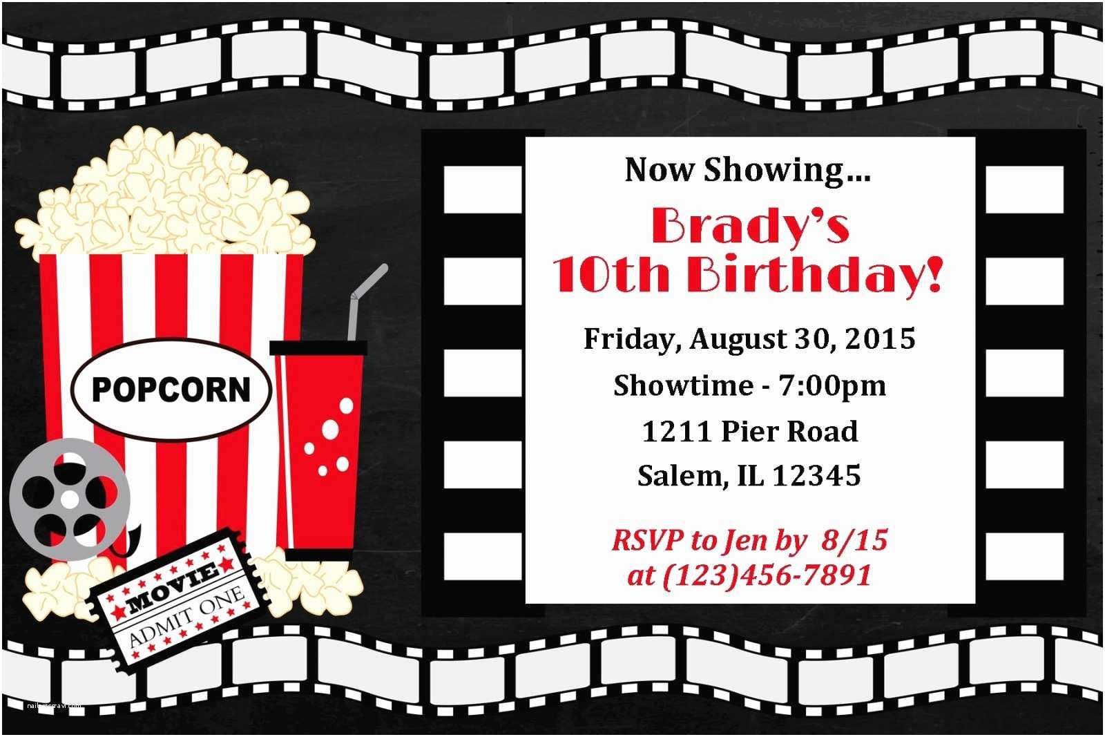 Movie Birthday Party Invitations Movie Night Invitation Movie Night Birthday Movie