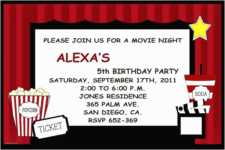Movie Birthday Party Invitations Movie Party Invitations