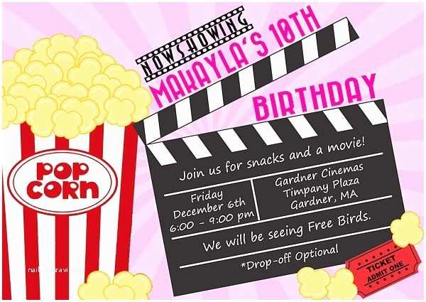 Movie Birthday Party Invitations Movie themed Birthday Party Invitations Movies