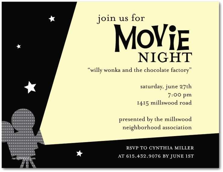 Movie Birthday Party Invitations Outdoor Movie Night Invitation Template