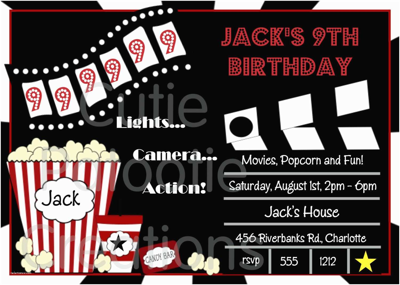 Movie Party Invitations Movie Birthday Invitations Movie Night by Cutiestiedyeboutique