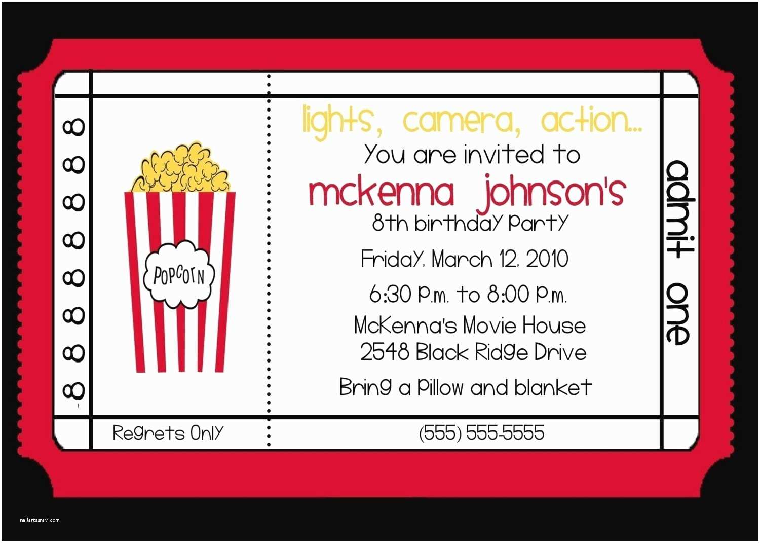 Movie Party Invitations Movie theater Birthday Party Invitation by Nattysuedesigns1