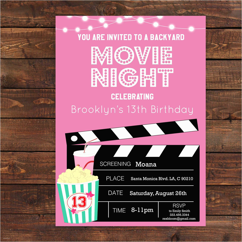 Movie Party Invitations Pink Girls Movie Night Party Invitation Pink Movie