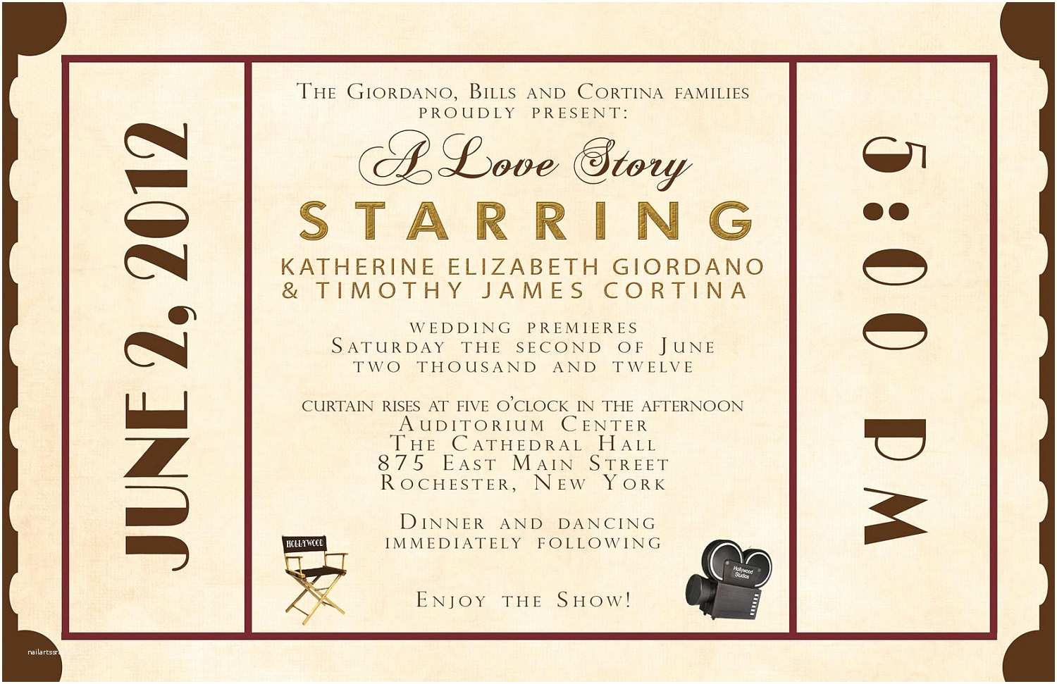 Theater Wedding Invitations 8 Best Of  Theater Ticket Template