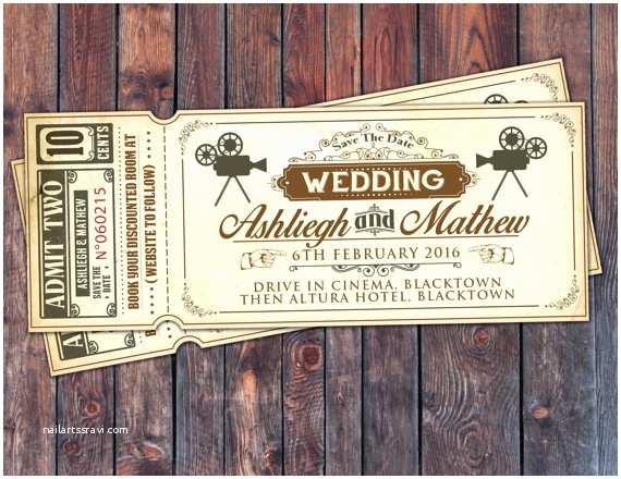 Movie Theater Wedding Invitations Art Decovintage Retro Save The Date Ticket