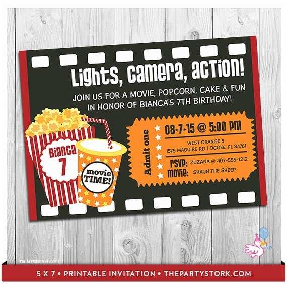 Movie Theater Wedding Invitations Movie Party Invitation Printable Boys Or Girls Movie