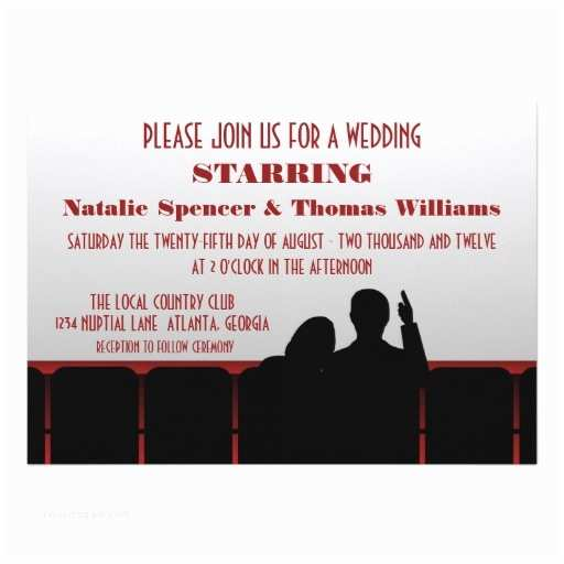 "Movie Theater Wedding Invitations Movie Theater Wedding Invite Red 5"" X 7"" Invitation"