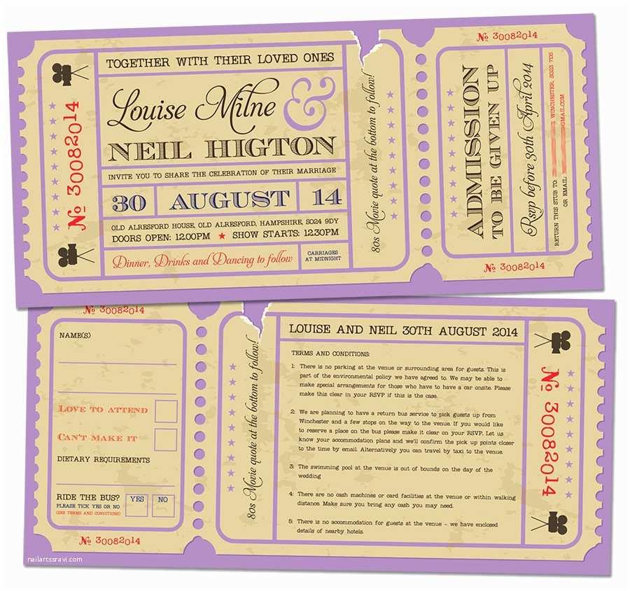 Movie Theater Wedding  Movie Ticket Wedding