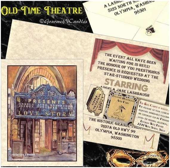 Movie theater Wedding Invitations Qty 50 Vintage theatre Movie Old Hollywood Glamour Wedding