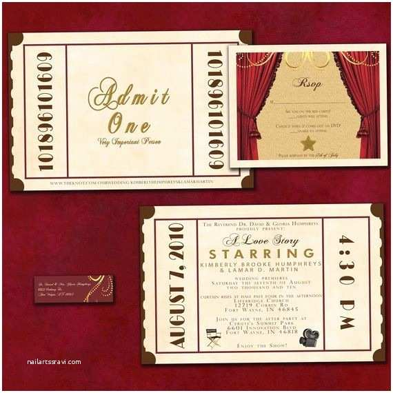 Movie Theater Wedding Invitations Theatre Ticket Wedding Invitation