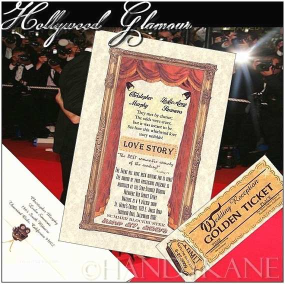 Movie Theater Wedding Invitations Unique Hollywood Glamour Movie Star Wedding By