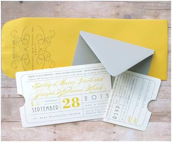 Movie theater Wedding Invitations Vintage Ticket Invitation theater Premiere Night by