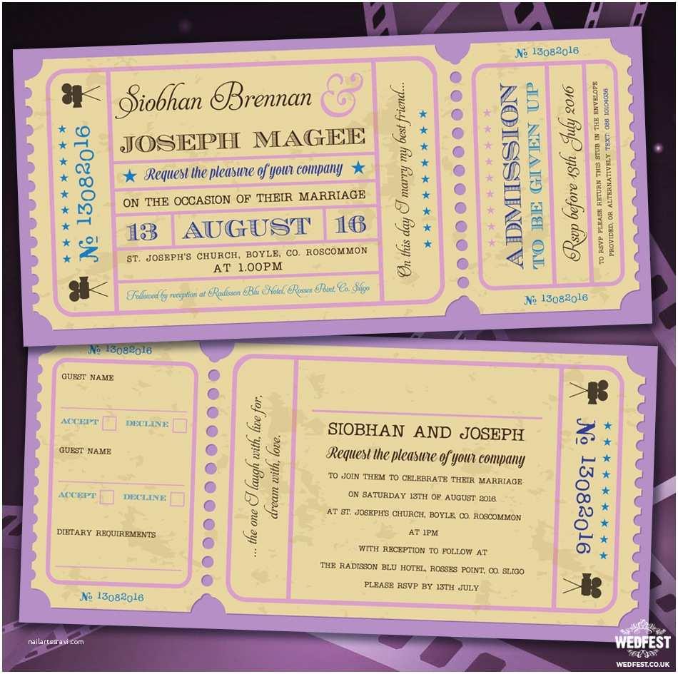 Movie Ticket Wedding Invitations Cinema and Movie themed Wedding Stationery