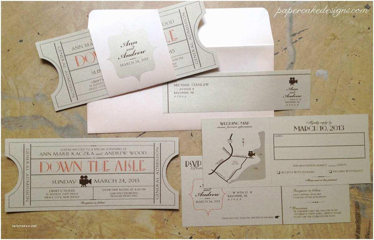 Movie Ticket Wedding Invitations Cinema – Papercake Designs