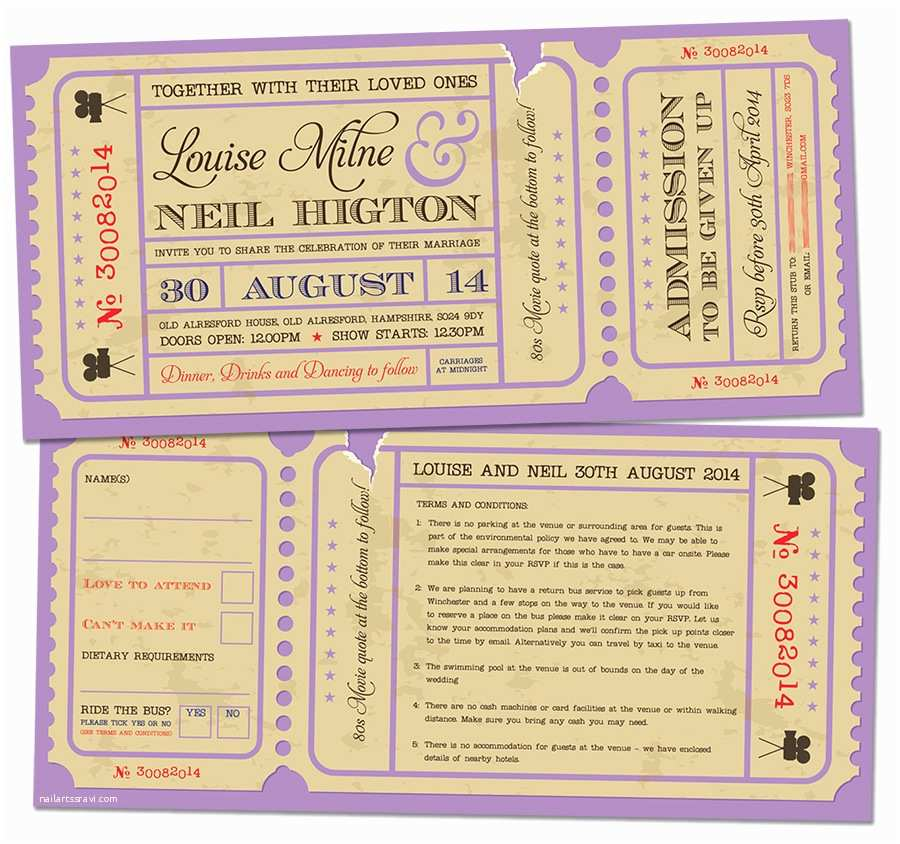 Movie Ticket Wedding Invitations Movie Ticket Wedding Invitations