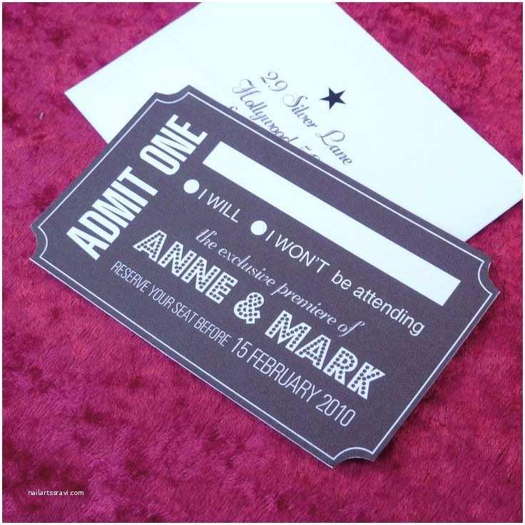 Movie Ticket Wedding Invitations Rsvp Cards Wedding Stuff Pinterest