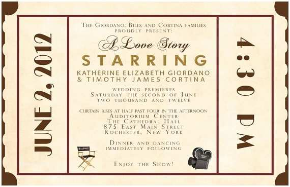 Movie Ticket Wedding Invitations Rush Custom Listing for Katgio87 Antique Movie theater