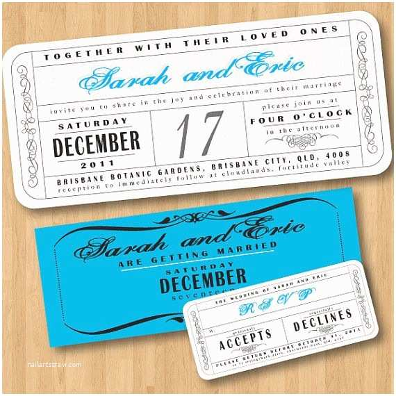 Movie Ticket Wedding Invitations Vintage Wedding Ticket Style Invitations Diy Set