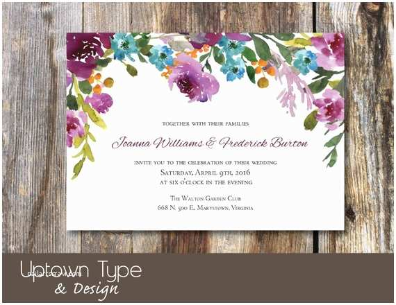 Mpix Wedding Invitations Purple Floral Wedding Invitation Watercolor Diy Printable