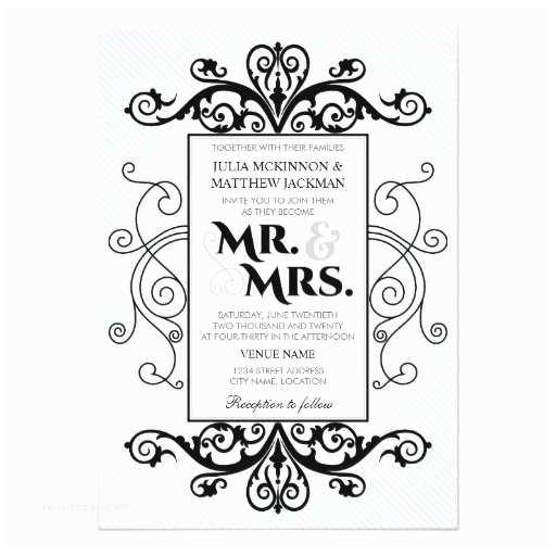 Mr and Mrs Smith Wedding Invitations Black Vintage Swirls Mr and Mrs Wedding 13 Cm X 18 Cm