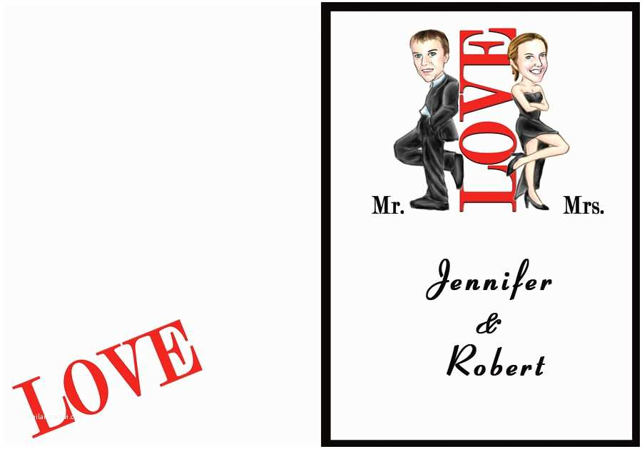 Mr and Mrs Smith Wedding Invitations Mr & Mrs Smith Cartoon Folded Wedding Invitation Ukf115