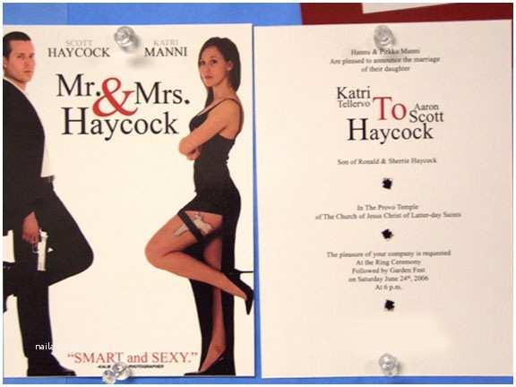Mr And Mrs Smith Wedding Invitations Sjove Invitationer Bryllup Jubii