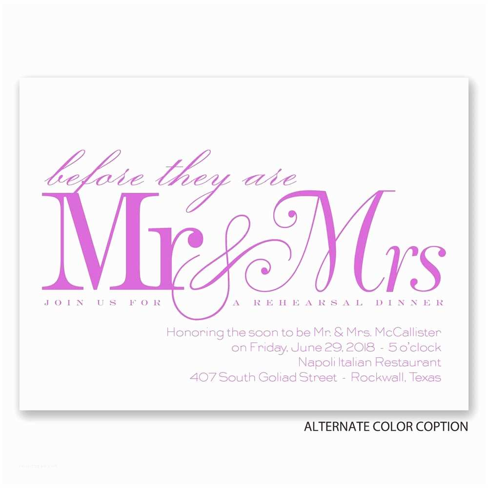 Mr and Mrs Wedding Invitations before Mr & Mrs Petite Rehearsal Dinner Invitation