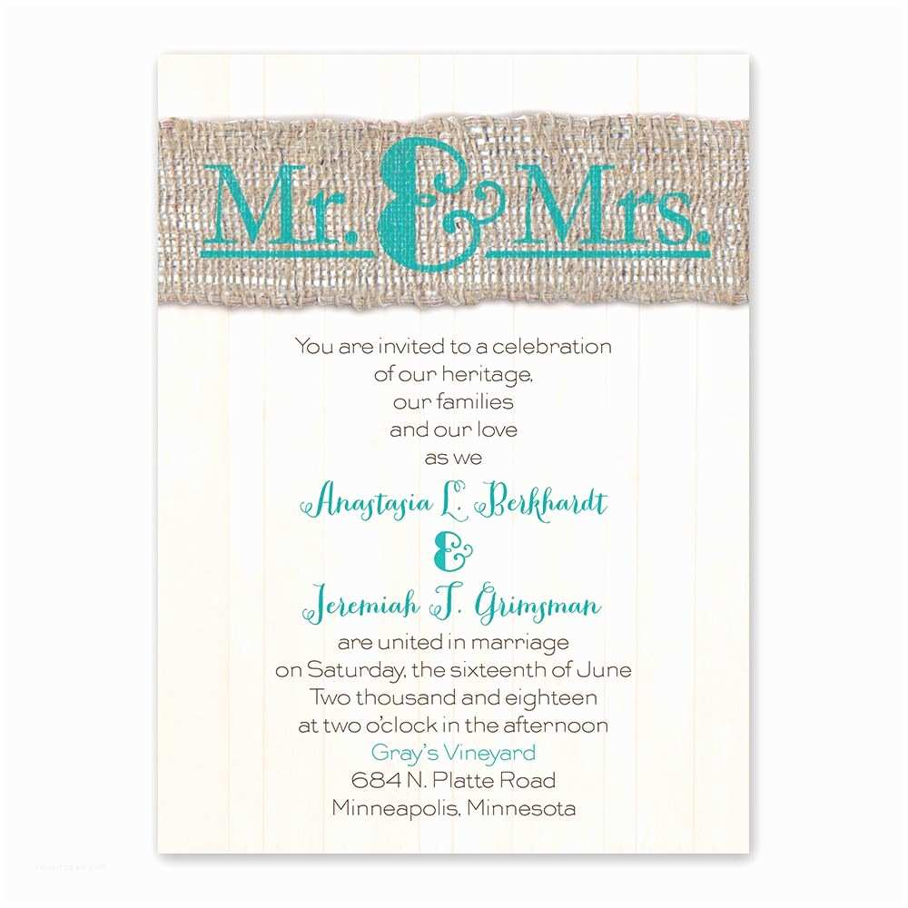 Mr and Mrs Wedding Invitations Burlap Band Mr & Mrs Petite Invitation